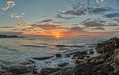 Waiting for the right wave (JustAddVignette) Tags: australia clouds cloudysunrise dawn freshwaterbeach landscapes newsouthwales northernbeaches ocean rocks seascape seawater sky sunrise sydney water