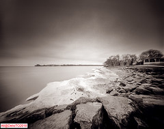 On Lake shore (DelioTO) Tags: 4x5 autaut beaches blackwhite canada d23 f175 fomapan100 lake landscape ontario pinhole rain trails winter