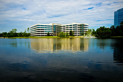 Offices with a View (k4eyv) Tags: thewoodlandstexas texas officebuilding lake leicaq sky clouds