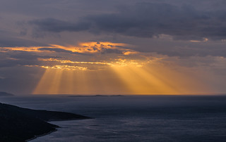 Sun rays over Alkyonides islands