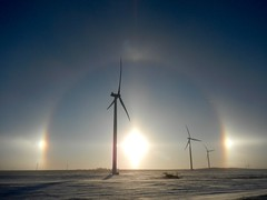 Published in the Western Producer - January 11, 2018 (Jeannette Greaves) Tags: altamont manitoba sundogs windturbine jspubpic 2018 winter canada cold westernproducer