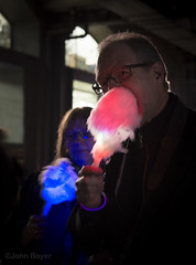 Electric candy floss (JohnB's photos) Tags: candy floss novelty lumiere london 2018 nikond610 nikon2470mm people easting