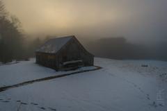 Sunset 1.23.17 (koperajoe) Tags: barn sunset westernmassachusetts mist winter samyang12mm fog rural farmstead newengland snow
