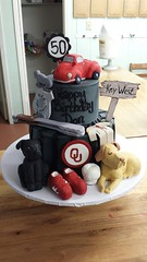 gumpaste (backhomebakerytx) Tags: birthday cake 50th truck dog tongs ou badge jersey back home bakery backhomebakery
