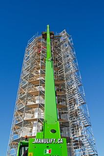 : Équipement mécanique qui sert de monte-charge au phare de Pointe-au-Père durant sa rénovation à Rimouski (secteur Pointe-au-Père)