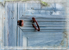 Blue door (BirgittaSjostedt) Tags: door handle keyhole closeup wood texture color blue old antique ancient paint birgittasjostedt
