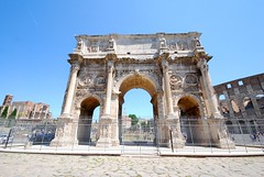 The Arch of Constantine (Istvan) Tags: rome roma róma italy arch triumphalarch sunshine architecture building sky ancient road ruins colosseo colosseum