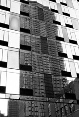 Long Island City/Queens, NY Tower on Tower Reflection - January 2018 (Matthew Mu Photography) Tags: newyorkcity queens city building blackwhite film architecture delta3200 ilford 35mm queensboroplaza canona1