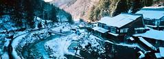 Lodge (David_Brereton) Tags: hasselblad xpanii xpan filmphotography 35mmfilm japan hakuba snow photography winter landscape cabin onsen river composition countryside panorama nagano japanesealps