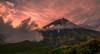 Sunset at Mount Taranaki, North Island, New Zealand (christaff1010) Tags: d750 sun summer newzealand landscape nz taranaki pink mounttaranaki mountains sky green hills northisland sunlight clouds
