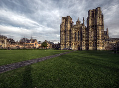 Wells Cathedral HDR (Prosthetic_Head) Tags: highdynamicrange hdr wells cathedral church gothic architecture smoke sky grass shadows light clouds green stone building