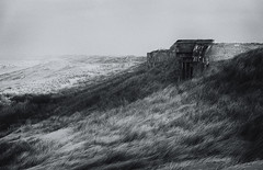 Events from the past (nokkie1) Tags: holland coastline bunker secondworldwar dunes grass sea light shadow black white
