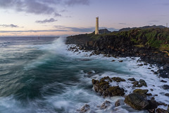 Another lonely lighthouse... (Dancing.With.Wolvez) Tags: island lighthouse waves color rocks hawaii travel vacation water sea seas photography fine art dancing with wolves white clouds long exposure point sunrise sunset pre dawn early wake up winter swell surf advisory flight