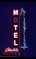 "The ""Dive"" Motel of Mesa, Arizona (Sam Antonio Photography) Tags: diving dive lady roadtrip mesa arizona neon sign night bright glow illuminated travel symbol downtown color scenic road cityscape sidewalk women urban nighttime signage entertainment starlitemotel history"