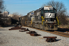 Black (and White) Diamonds (weshendrix) Tags: norfolk southern ns train railfan railfanning railroad railroading rr freight coal rail emd sd70 standard cab diesel engine locomotive vehicle macon georgia ga outdoor autumn blue sky