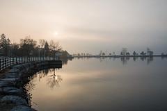 Foggy Sunrise (jsdoodnauth) Tags: pickering sunrise waterfront fog lake reflection