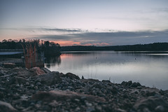 falls lake-6539 (spencer Hart Photography) Tags: sunset northcarolina raleigh canon exposrue explore lake dam rocks river lightroom adobe flow still usa nature outdoors