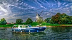 Bruges - 4377 (YᗩSᗰIᘉᗴ HᗴᘉS +12 000 000 thx❀) Tags: hdr 3exp bruges belgium bel be belgique aaa europa windmill sky blue water river landscape boat ship eau hensyasmine yasminehens