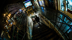 MC Peleng 8 mm f 3.5 A ( МС Пеленг 3,58А ) DSCF5591 (::Lens a Lot::) Tags: mc peleng 8 mm f 35 a 6 blades aperture   m42 or nikon mount paris 2017 darkness underground noise night light street streetphotography white vintage manual prime fixed length classic lens ruelle personnes route bâtiment metro subway gate station lignes train plafond russian color blue yellow red