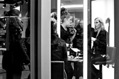 Make-over in a Douglas Window (d_t_vos) Tags: reflections reflection reflecting women shop shopwindow douglas parfumerie perfumery perfumerycounter mirror mirrors lines vertical people monochrome showwindow display makeup zwartwit leeuwarden nieuwestad waagplein dickvos dtvos