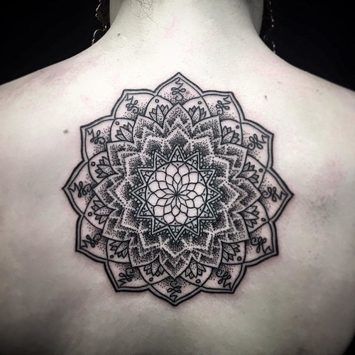 Ayrton sickbird tattoo back mandala