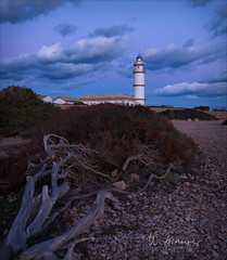 The lighthouse (W.MAURER foto) Tags: spain spanien mallorca winterinmallorca balearen balearicislands lighthouse evening seascape landschaft abend blue bluehour darkclouds clouds wolken strand beach tamron darmo capsalines fardescapdesessalines leuchtturm far