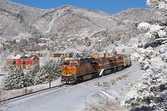 BNSF 3845 Palmer Lake 11 Feb 18 (AK Ween) Tags: bnsf bnsf3845 ge generalelectric et44c4 palmerlake colorado jointline train railroad snow