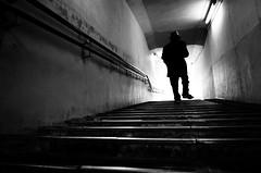 The deserted underground passage (明遊快) Tags: bw man contrast winter stairs alley underground japan japanese light shadow gr2 richo candid street hat