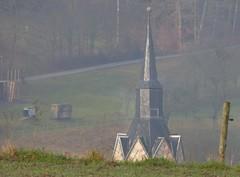 Curious! (:Linda:) Tags: germany thuringia village bürden mist church spire slateshingled