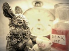 """Curiouser and curiouser!""  ― Lewis Carroll, Alice in Wonderland (pics by paula) Tags: macromondays macromonday macro monday mondays myfavouritenovel alice wonderland march hare drinkme curiouser mad hatter poison rabbit clock watch late picsbypaula still life high key aliceinwonderland book myfavouritebook"
