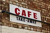 Cafe Take-Away, Manchester, UK (Robby Virus) Tags: manchester england uk unitedkingdom britain greatbritain cafe takeaway brick wall sign signage