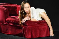 Couch's Edge (Lexmax08) Tags: heels toes feet legs dress white long hair eyes couch studio woman female model pretty sexy beautiful asian vietnamese dark black budoir
