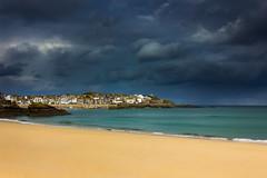 Porthminster morn (snowyturner) Tags: stives beach coast bay headland cornwall calm rain clouds