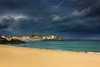 Porthminster morn (snowyturner) Tags: stives beach coast bay headland cornwall calm rain clouds