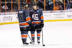 "Kansas City Mavericks vs. Indy Fuel, February 17, 2018, Silverstein Eye Centers Arena, Independence, Missouri.  Photo: © John Howe / Howe Creative Photography, all rights reserved 2018 • <a style=""font-size:0.8em;"" href=""http://www.flickr.com/photos/134016632@N02/39490840145/"" target=""_blank"">View on Flickr</a>"