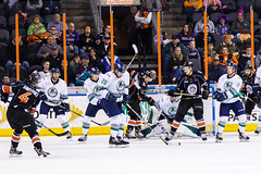 "Kansas City Mavericks vs. Florida Everblades, February 18, 2018, Silverstein Eye Centers Arena, Independence, Missouri.  Photo: © John Howe / Howe Creative Photography, all rights reserved 2018 • <a style=""font-size:0.8em;"" href=""http://www.flickr.com/photos/134016632@N02/39491133345/"" target=""_blank"">View on Flickr</a>"