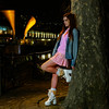 224 of Year 4 - Miss Emilee (Hi, I'm Tim Large) Tags: girl woman hot cute pretty pink denim jacket short mini skirt white boots redhead redhair young youth plaid tree harbourside night evening fashion model female lady bristol waterfront