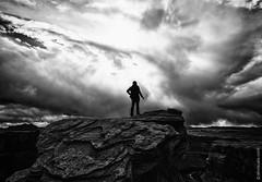 Self-Portrait at Horseshoe Bend, Arizona (thedot_ru) Tags: self portrait blackandwhite monochrome bw sky clouds skyporn travel adventure travelling wanderlust usa america arizona nature mountains person man male dress alone loneliness canon5d 2014