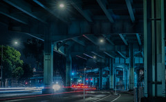 division street underpass (pbo31) Tags: bayarea california nikon d810 color night dark black january 2018 winter city urban boury pbo31 sanfrancisco motionblur movement traffic lightstream motion roadway 101 centralfreeway steel overpass elevated soma infinity somisspo