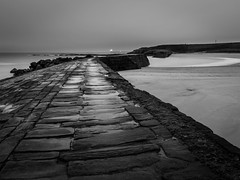 Distant light (Johnbasil1) Tags: cullercoats bay sigma pier le cullercoatsseamorningsigma pentaxk3 sigma1020mm beach blackwhite coastal cold mono rock sea