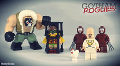 Egghead's Crew (WattyBricks) Tags: lego dc comics superheroes batman gotham rogues gallery bane robin dick grayson kabuki twins egghead vincent price