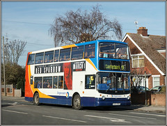 18171, Westwood Cross (Jason 87030) Tags: dennis trident alx400 doubledecker stagecoach westwoodcross thanet margate broadstairs canterbury 9 lives february 2018 southeast eastkent holiday uk england sony ilce alpha a6000 nex tag flickr bus publictransport red white blue orange