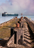 Car Carrier (tramsteer) Tags: tramsteer fog pier por portishead ship bulkcarrier sea water clouds somerset bristol car automobiles blue stone stones dock metal rust