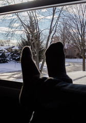 Relaxation Time (Alex Wilson Photography) Tags: feet foot snow snowy sky light lights clouds cloud tree trees green brown school bus bussing yellow red sign street road fence fencing shadow shadows window windows screen shade black white color