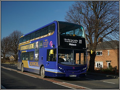 First Eastern Counties 33809 (Jason 87030) Tags: 33809 first enviro e400 doubledecker guyhirn wisbech norwixh x1 janauary roadside shot shoot sony ilce alpha a6000 blue gold bus wheels 2017 woman scene sunny weather easterncounties cambridgeshire uk england yx63lju thorneytoll a47 recent new myfavouritebusesbyjr