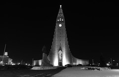 Reykjavik by night (Diaprojector) Tags: blackwhite iceland church reykjavik dlux leica