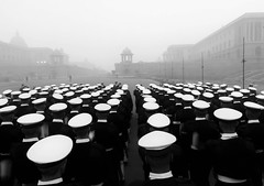 Republic Day Parade Rehearsal. (nimitnigam) Tags: navy india indian army republic day rehearsal parade practice gate rajpath delhi new fog foggy winter winters morning nimitnigam nimit nigam honor 6x mobile phone photo photography street streets mydelhimyview streetphotography black white blackandwhite blackandwhitephotography caps perspective leading lines respect soldiers soldier