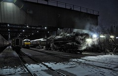 Southall West London 28th February 2018 (loose_grip_99) Tags: london england uk railway railroad rail train steam engine locomotive britishrailways standard britannia 462 pacific 70013 olivercromwell transportation 5305la preservation gassteam uksteam trains railways southall shed mpd depot night nighttime snow february 2018