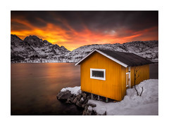 Yellow Fire (Vemsteroo) Tags: norway lofoten lofotenislands yellow hut longexposure sunrise winter cold north arctic epic dramatic colourful canon 5d mkiv 1635mm leefilters littlestopper circularpolariser travel outdoors morning dawn exploring