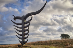 Highlander (dejongbram) Tags: art nature landscape sky tree veluwe gelderland nederland horns sculpture clouds